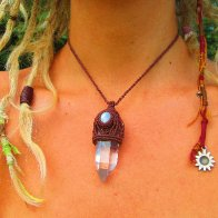 Moonstone and Quartz crystal Healing Amulet from my Etsy