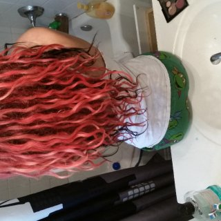 Another picture from the back. I counted and I have about 90 dreadlings. I let them freeform. I let them do there thing, the only help I give them is washing and separate them when they begin to congo together.