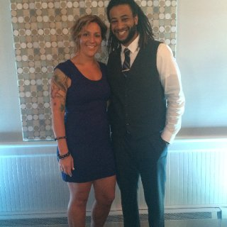 The wife and i at a friends wedding, yea, we clean up well.