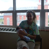 Putney Holding Eyota the day after he was born