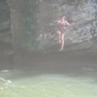 Woo, that was a jump, (me jumping off of a cliff at Red River Gorge