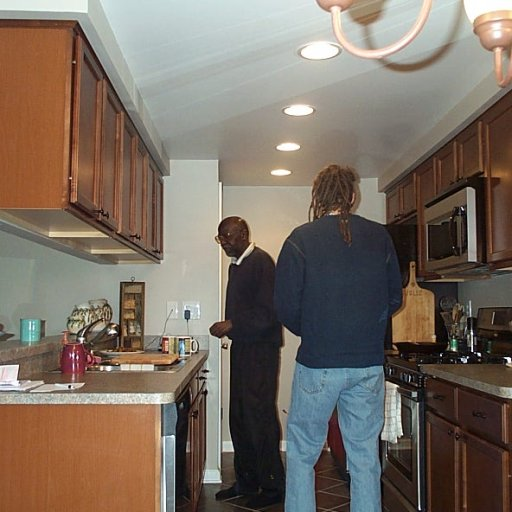 Caleb and Tate in kitchen