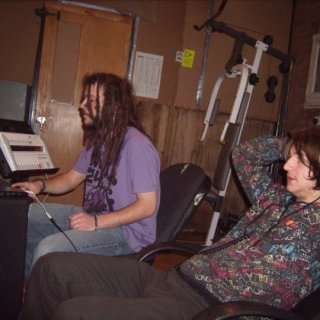 Recording at Adams. In the picture, Toby, my friend and I, in purple, on the left.
