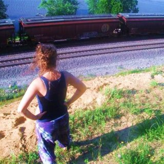 trying to cross the tracks to go swimming!