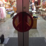 The door to work is a peace sign, i loved that place