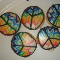 tye dye Peace cookies