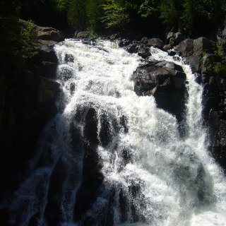 This is a water fall in Mont Tremblant park in Quebec It's called the falls of the devil