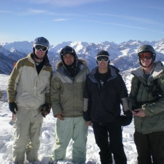 Snowboarding in the Alps, Mountain was split by Italy and France, so your looking at one of those countries, just depends what way we were facing