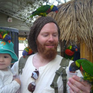 This is me and my little girl at the zoo, she just loves birds.