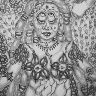 I drew this several months ago and turned it black and white on my photo editing. Now realizing I liked it better in color.It used colored pencil and pen originally. I will take a new photo.