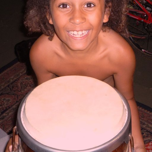 My son totally happy with his big drum