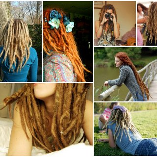 pictures i found online of some of my favorite dreads. bottom right pic is my friend emily's dreadlocks.  someday i hope mine are as beautiful:)