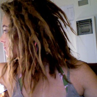 crazy shrinkage, unruly loose ends, so many bumps and loops, i love being a dreadhead
