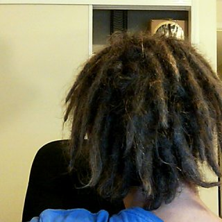 I love back of my head... the dreads look more natural, I think sleeping on them would help out a little! Love it!