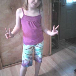 Annica is rockin' her tie dye shorts...I made them out of a t-shirt!! <3