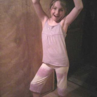 Ashlei in her recycled tie dye t-shirt shorts!