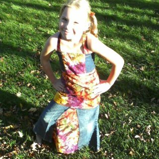 up-cycled jean skirt & apron top