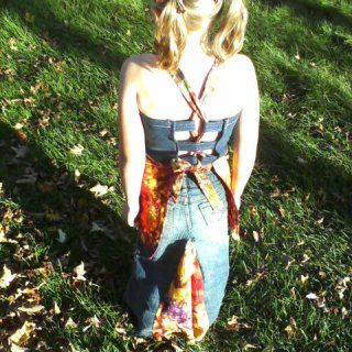 upcycled jean shirt apron top