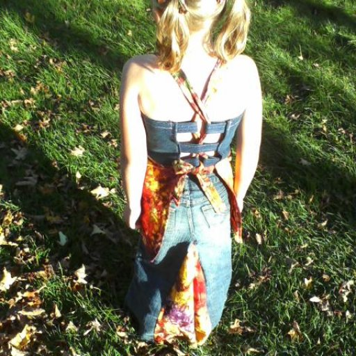 upcycled jean shirt & apron top