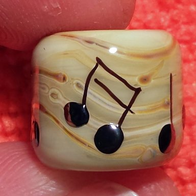 CLEARANCE Musical Notes Tan Flameworked Glass Dreadlock Bead