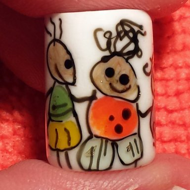 CLEARANCE Flameworked Glass Dreadlock Bead  Circle of Friends Critters
